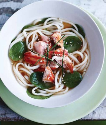 Japanese Noodle Broth with Salmon & Spinach