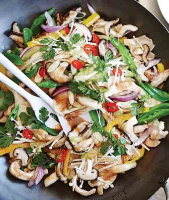 Teriyaki Chicken Stir fry with Mixed Mushrooms & Snow Peas