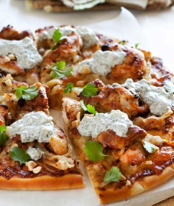 Satay chicken pizzas