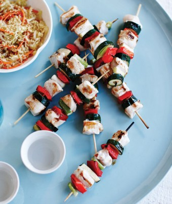 Glazed Chicken Skewers with Asian Coleslaw
