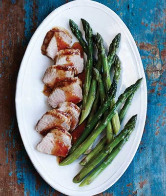 Marinated Pork Tenderloin with Steamed Asparagus