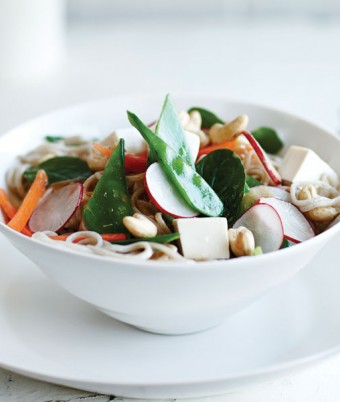 Tofu, Vegetables & Soba Noodle Salad with a Miso & Ginger Dressing