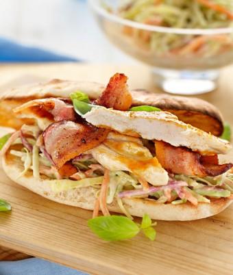 Chicken & Bacon Burger With Avocado Slaw