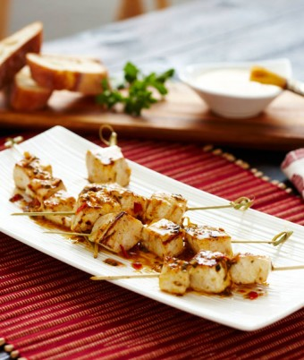 Barbecue Swordfish Skewers with Salmoriglio Butter