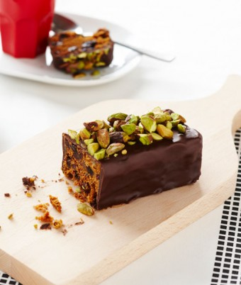 Chocolate and pistachio Christmas Cake Log