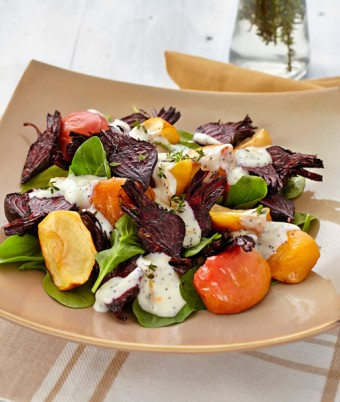 Roast Beetroot and Apple Salad with Orange Poppy Seed Mayonnaise