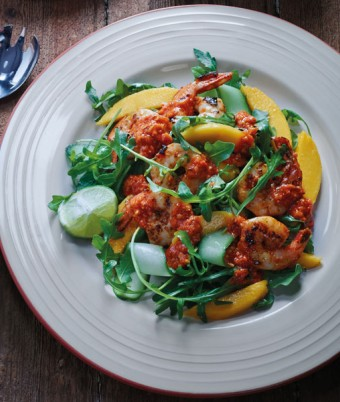 BBQ Capsicum Prawns With Rocket And Mango Salad