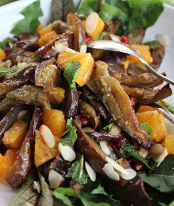Honey roasted eggplant salad