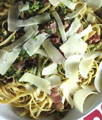 Pasta with pancetta, and Broad bean pistachio and rosemary pesto