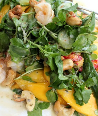 Prawn, Mango and watercress salad with coconut dressing