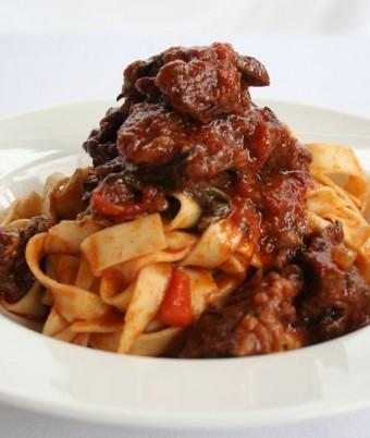 Tagliatelle pasta with rich meat ragu