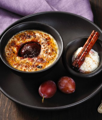 Baked Vanilla & Plum Rice Pudding
