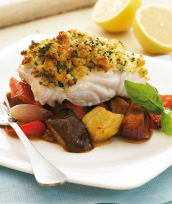 Parmesan Crusted Baked Fish with Ratatouillle
