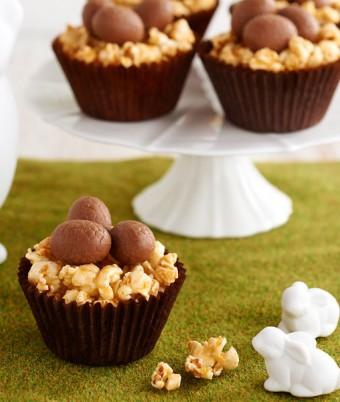 Golden Honey Popcorn Easter Egg Nests Recipe