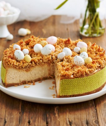 Baked Vanilla Spice Cheesecake with Coconut Toping Easter Recipe
