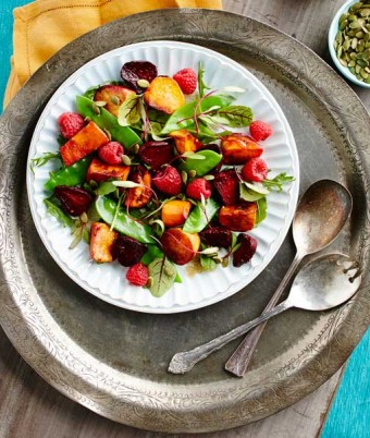 Roasted Sweet Potato and Beet Salad