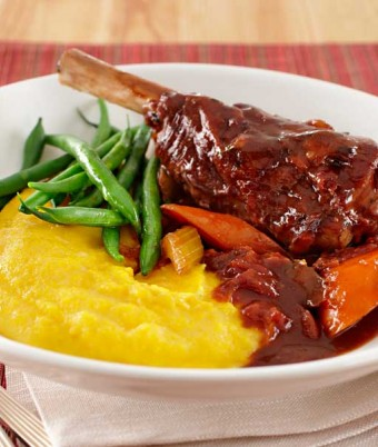 Braised Lamb Shanks with Cheesy Soft Polenta