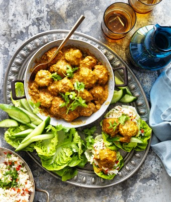 Korma Chicken Meatballs in Lettuce Cups