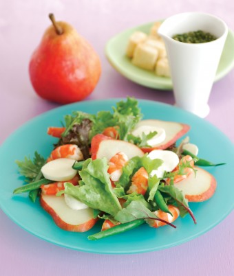Pear, Prawns, Green Bean and Bocconcini Salad with Salsa Verde