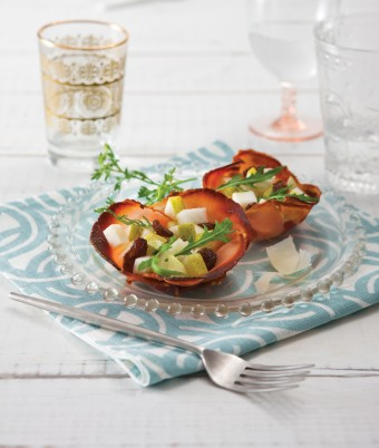 Crispy Pancetta Cups with Fresh Pear, Rocket and Raisin Salad