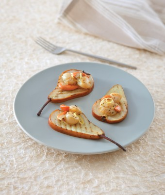 BBQ Beurre Bosc Pears with Vanilla Seared Scallops
