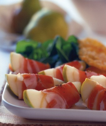 Pears Wrapped with Prosciutto, served with Parmesan Wafers