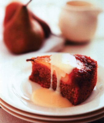 Upside Down Pear Pudding with Vanilla Custard