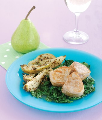 Pan Fried Pears, Pork Medallions and Wokked Spinach