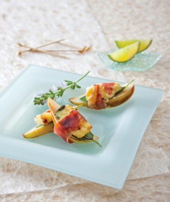 Grilled Pear and Haloumi Prosciutto Wraps