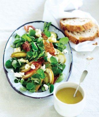 Beurre Bosc Pear, Prosciutto and Goat's Cheese Salad with Watercress and French Style Vinaigrette
