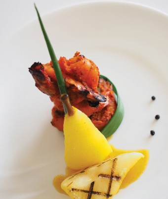 Tandoori Prawns with Saffron and Cardamom Poached Pears