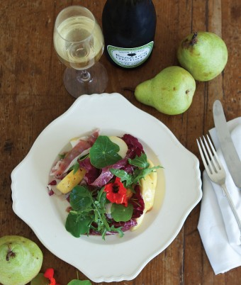 Fresh Packham Pear, Jamon and Walnut Salad with Pear Cider Dressing