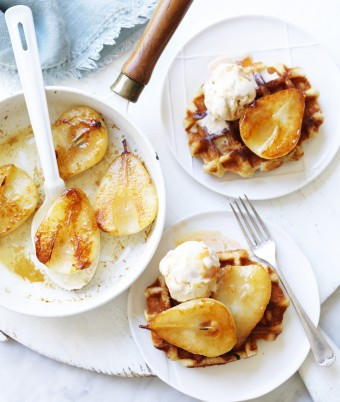 Waffles with Caramel Ice Cream and Pears