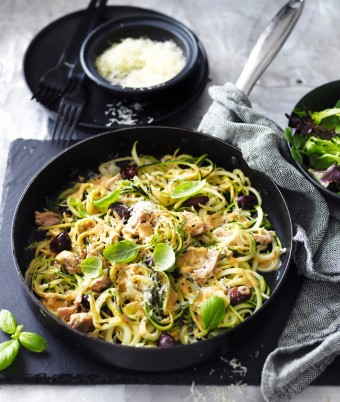 Sundried Tomato, Tuna and Olive Zucchini Noodles