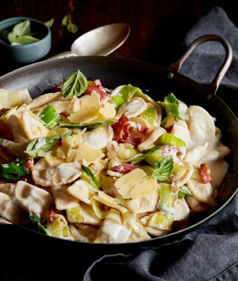 Bacon and Leek Spaghetti Agnolotti with 4 Cheese Ricotta
