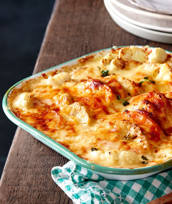 Creamy Sweet Potato, Cauliflower Bake