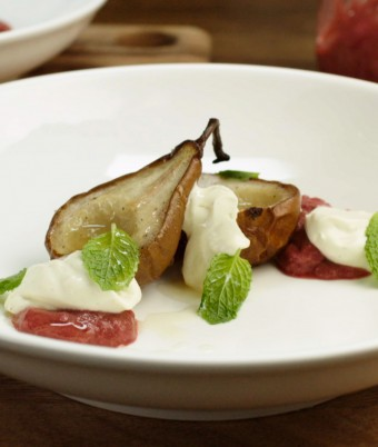 Poached Pears with whipped cream cheese