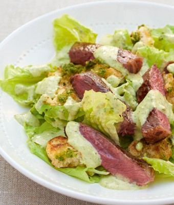 Char-Grilled Steak and Pesto Salad