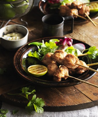 Salt Pepper Quail Breast Skewers with Aioli and Charred Lime Cheeks
