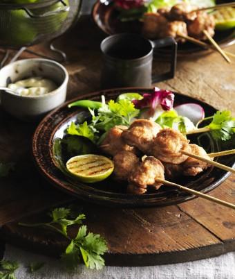 Salt Pepper Quail Breast Skewers with Aioli and Charred Lime Cheeks
