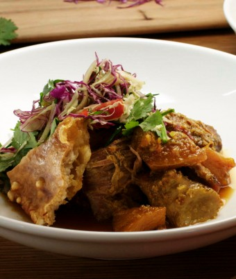 Slow Cooked Pork and Pineapple Curry with Slaw and Crispy Crackling