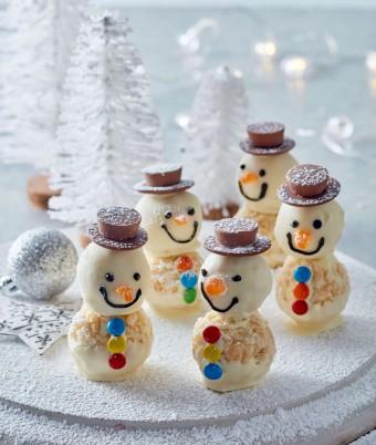 White Chocolate Crackle Snowmen Recipe