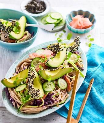 Soba Noodle salad sesame dressing
