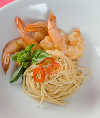 Prawn Spaghettini with Garlic, Chilli & Basil