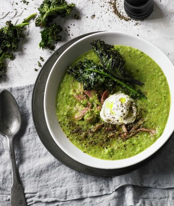 Split Pea and Smoked Ham Soup with Kale Chips