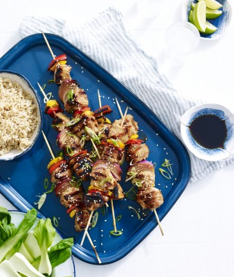 Asian Turkey Skewers with Brown Rice