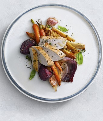 This easy pan fried turkey breast recipe with roasted root vegetables is a simple protein packed family dinner or lunch idea.