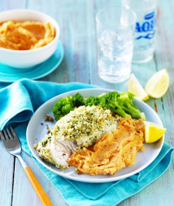 Lemon and Herb Fish with Sweet Potato Mash