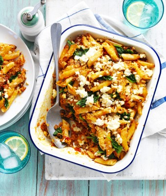 Sweet Potato Pasta Bake with Spinach and Pine Nuts