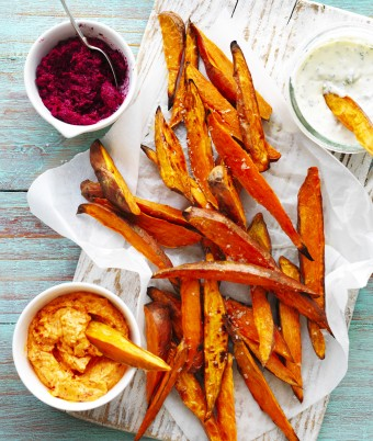 Sweet Potato Wedges with Dips